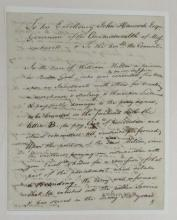 (MASSACHUSETTS.) Letter to John Hancock begging clemency for a convicted thief sentenced to have a
