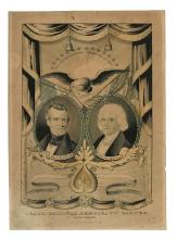 (PRESIDENTS--1844 CAMPAIGN.) Pair of Currier prints depicting the Polk/Dallas and Clay/Frelinghuysen tickets.