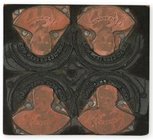 (ROOSEVELT, THEODORE.) Printing block for a Theodore Roosevelt campaign button.
