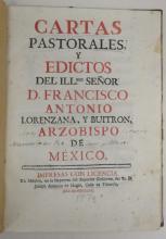 (MEXICO--1770.) Lorenzana, Francesco Antonio. Cartas pastorales, y edictos.