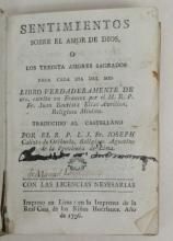 (PERU--1796.) Avrillon, Jean Baptiste. Sentimientos sobre el amor de Dios, o los treinta amores sagrados para cada dia del mes: