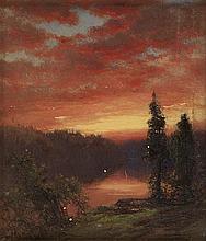 JAMES D. SMILLIE Sunset over a Lake.