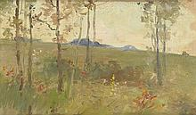 CHARLES HOLLOWAY Arcadian Scene with Young Lovers in a Landscape.