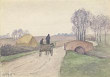 GEORGE C. AULT Country Road with Horse and Carriage.