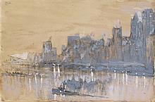 JOSEPH PENNELL Evening, East River, New York.