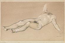JOHN KOCH Recling Male Nude.