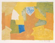 SERGE POLIAKOFF Composition jaune, orange et verte.