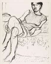 RICHARD DIEBENKORN Seated Woman in a Striped Dress.
