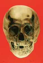 DAMIEN HIRST Till Death Do Us Part--Time Bright Orange African Gold Emerald Green Pop Up Skull.