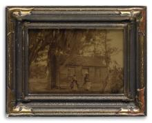 LESESNE, RICHARD H. (active 1897-1935), attributed to Stunning image of two African American women outside of a cabin that is surrounde