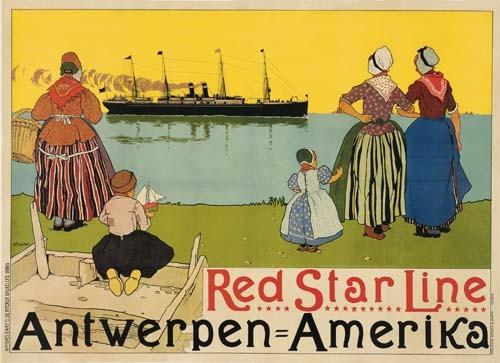 HENRI CASSIERS (1858-1944) RED STAR LINE / ANTWERPEN-AMERIKA. 1899.