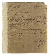 BOLÍVAR, SIMÓN. Letter Signed, to Juan W. Camacho, in Spanish,