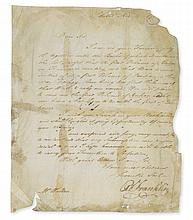 FRANKLIN, BENJAMIN. Letter press copy of an Autograph Letter Signed,