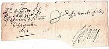 VANE, HENRY. Fragment of a Letter Signed,