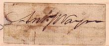 WAYNE, ANTHONY. Clipped Signature,