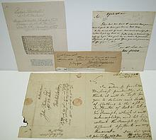 (AMERICANA.) Group of 4 items Signed, or Signed and Inscribed, by 18th-century Americans.