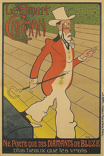 AUGUSTE ROUBILLE (1872-1955). LE SMART CARMEN. Circa 1898. 46x31 inches, 118x79 cm. F. Appel, Paris.