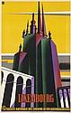 DESIGNER UNKNOWN. LUXEMBOURG / CHEMIN DE FER. Circa 1930. 39x24 inches, 101x62 cm. Art. Ed. Huss & Cie., Luxembourg.