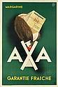 PAOLO FEDERICO GARRETTO (1903-1989). AXA / MARGARINE. 1932. 59x39 inches, 175x99 cm. Pontal Publicite, Paris.