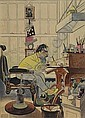 Self-Portrait in Barber Chair., Albert Hirschfeld, Click for value
