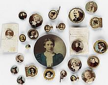 (POP PHOTOGRAPHICA) Group of 25 celluloid accessories or jewelry, including pinbacks, cuff links, buttons, and badges; a few in decorat