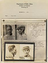 (PHILADELPHIA CRIME) Police group binder containing more than 55 photographs relating to crime, comprising 25 diptych mug shots (with h