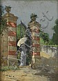 LYELL CARR Lady with a Parasol at a Gate.