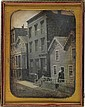 (URBAN STREET SCENE) A full-plate daguerreotype street scene featuring a staged tableau in which