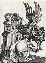 JOHANNES WIERICX (after Dürer) Coat of Arms with a Skull