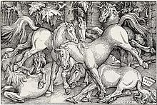 HANS BALDUNG GRIEN Group of Seven Wild Horses.