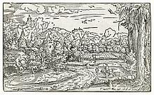 VIRGIL SOLIS Landscape with St. Jerome Reading near a Grotto.