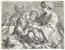 ANNIBALE CARRACCI Madonna and Child with Saints Elizabeth and John the Baptist.