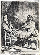 REMBRANDT VAN RIJN Christ at Emmaus: The Smaller Plate.