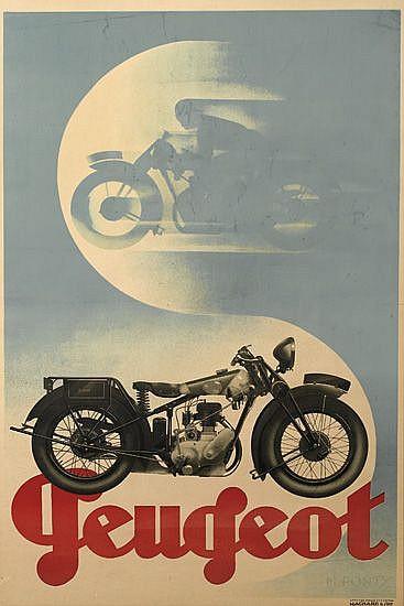 MAX PONTY (1904-1972). PEUGEOT. Circa 1930. 46x30 inches, 117x76 cm. Hachard & Cie., Paris.
