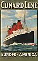 SAMUEL JOHN MILTON BROWN (1873-1965). CUNARD LINE / EUROPE - AMERICA [LUSITANIA / MAURETANIA.] Circa 1907. 39x25 inches, 100x63 cm. T.