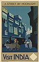 HENRY GEORGE GAWTHORN (1879-1941). VISIT INDIA / A STREET BY MOONLIGHT. Circa 1925. 39x25 inches, 100x63 cm. Adams Bros. & Shardlow Ltd