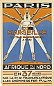 DESIGNER UNKNOWN. PARIS / MARSEILLE / AFRIQUE DU NORD. 39x24 inches, 99x61 cm. L'Atlantique, Paris.