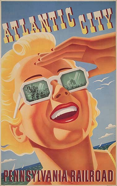 SASCHA MAURER (1897-1961) PENNSYLVANIA RAILROAD / ATLANTIC CITY. Circa 1940. 40x25 inches.