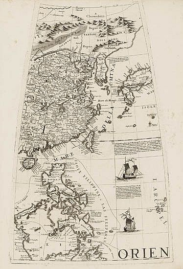 CORONELLI, VICENZO MARIA. Two engraved gores picturing Japan,