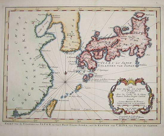BELLIN, JACQUES NICOLAS. Carte des Isles du Japon et la Presqu Isle de Coree, Avec les Costes de la Chine Depuis Pekin Jusqu'a Canton.