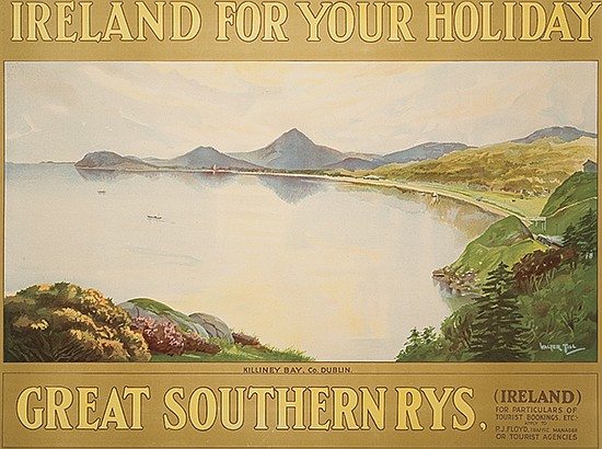 WALTER TILL (DATES UNKNOWN). IRELAND FOR YOUR HOLIDAY / GREAT SOUTHERN RYS. Circa 1920. 28x38 inches, 71x97 cm.