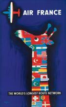 RAYMOND SAVIGNAC (1907-2002). AIR FRANCE / THE WORLD'S LONGEST ROUTE NETWORK. 1956. 39x24 inches, 99x61 cm.
