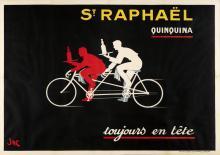 JAC (JACQUES SAIGNIER, DATES UNKNOWN). ST. RAPHAËL / QUINQUINA. 46x63 inches, 118x61 cm. Imprimerie Spéciale du St. Raphaël Quinquina.