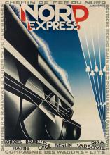 ADOLPHE MOURON CASSANDRE (1901-1968). NORD EXPRESS. 1927. 41x29 inches, 105x75 cm. Hachard & Cie., Paris.