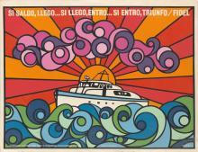 ÑIKO (ANTONIO PEREZ, 1941- ). SI SALGO, LLEGO . . . 1974. 26x34 inches, 66x86 cm. Instituto Cubano del Arte Industria Cinematográficos,
