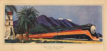 FRED LUDEKENS (1900-1982). SOUTHERN PACIFIC'S STREAMLINED DAYLIGHT. Circa 1937. 19x41 inches, 50x105 cm.