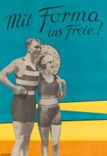 DESIGNER UNKNOWN. MIT FORMA INS FREIE! Circa 1930s. 46x32 inches, 118x83 cm. Eisfeller Kunstdruck, Koln.