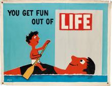 RAYMOND SAVIGNAC (1907-2002). YOU GET FUN OUT OF LIFE. 1954. 46x59 inches, 117x150 cm.