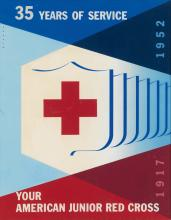 JOSEPH BINDER (1898-1972). YOUR AMERICAN JUNIOR RED CROSS / 35 YEARS OF SERVICE. Gouache and airbrush maquette. 1952. 21x16 inches, 53x