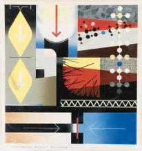 WEIMER PURSELL (1906-1974). PRODUCTION AND MATERIALS ENGINEERING. Gouache maquette. 1942. 15x14 inches, 39x37 cm.